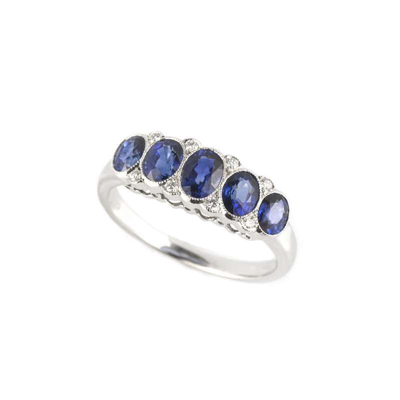Sapphire and Diamond Dress Ring in Platinum 1.57ct